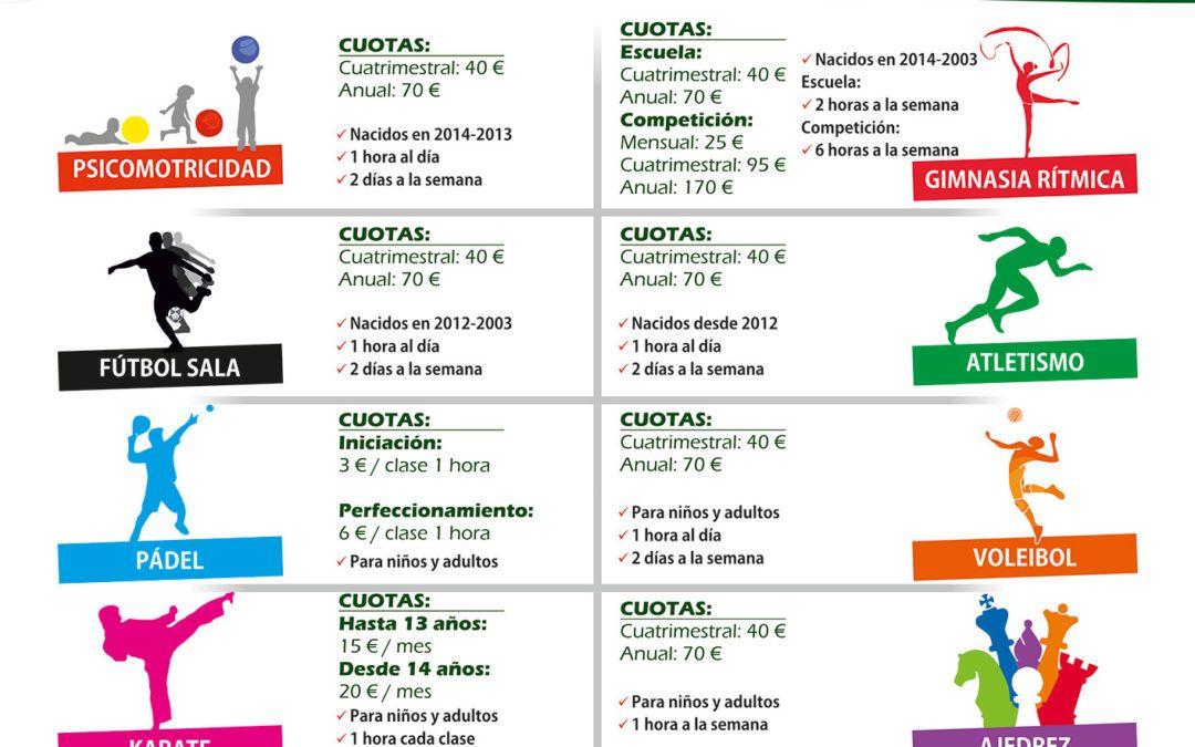 Horarios de las Escuelas Deportivas Municipales 2018-2019