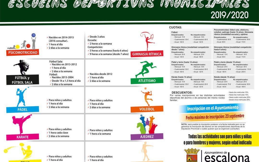 Horarios de las Escuelas Deportivas Municipales 2019-2020