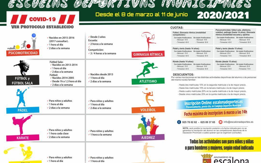 Comienzo de actividad de las Escuelas Deportivas 2020-2021